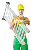 Builder isolated on the white — Foto Stock
