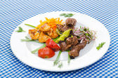 Plate with tasty lamp kebabs — Foto de Stock