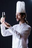 Cook tasting the wine — Stock Photo
