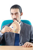 Hombre con billetes falsos de euros — Foto de Stock