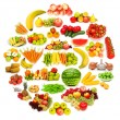 Set of various fruit and vegetables — Stockfoto