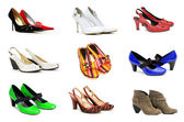 Collection of various shoes isolated on white — 图库照片