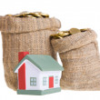 Toy small house and bags with money. — Stock Photo