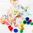 Baby and paints — Stock Photo #7095821
