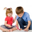 Children draw color pencils — Stock Photo #7095839