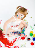 Little girl and bright colors — Stock Photo