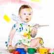 Baby and paints — Stock Photo #7869826