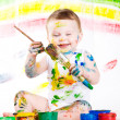Baby and paints — Stock Photo #7869830