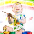 Baby and paints — Stock Photo #7869833