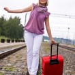 Young woman with a red suitcase — Stock Photo #7870029