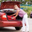 Young woman with a red suitcase in the car - Stock Photo
