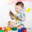 Baby and paints — Stock Photo #7870828