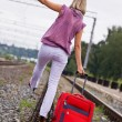 Stock Photo: Young woman with a red suitcase