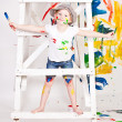 Girl in a cap with paints - Foto de Stock