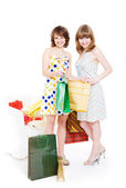 Two happy friends with purchases. — Foto Stock