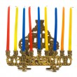 Hanukkal menorah with candles — Stock Photo