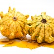 Decorative pumpkins whith yellow leaves - Stock Photo