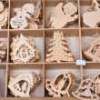 Box of beautiful wooden christmas toys — Stock Photo