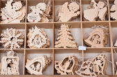 Caixa de brinquedos de Natal de madeira bonita — Fotografia Stock