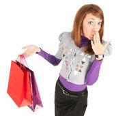 Jovem mulher com sacos — Foto Stock