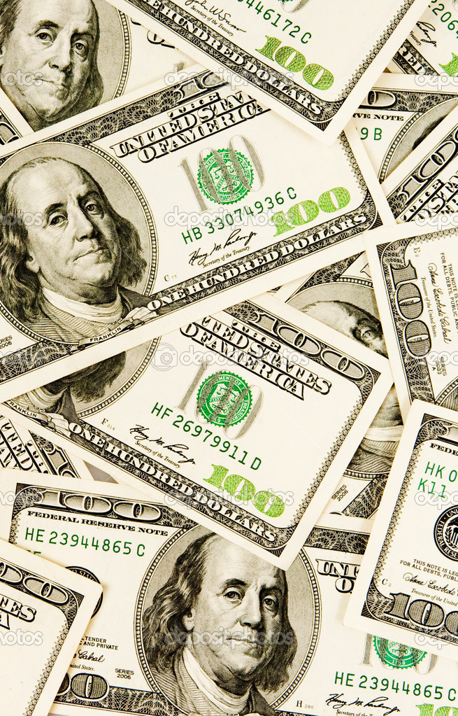 Heap of dollars, money background — Stock Photo #6825861