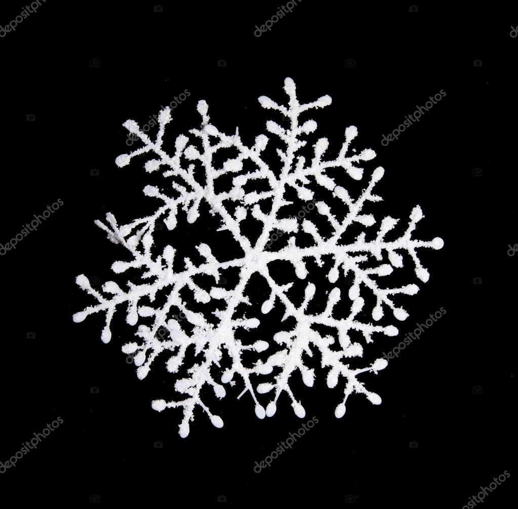White snowflake isolated om black — Stock Photo #6826219