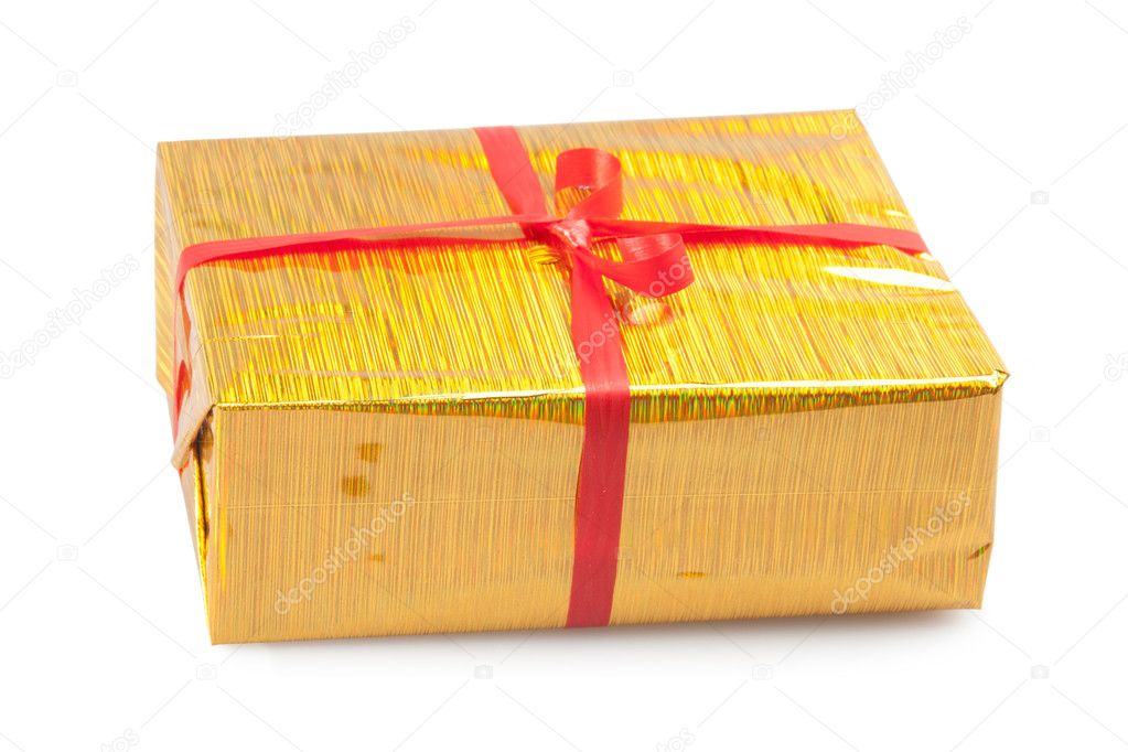Yellow box isolated on white, present — Stock Photo #6826241