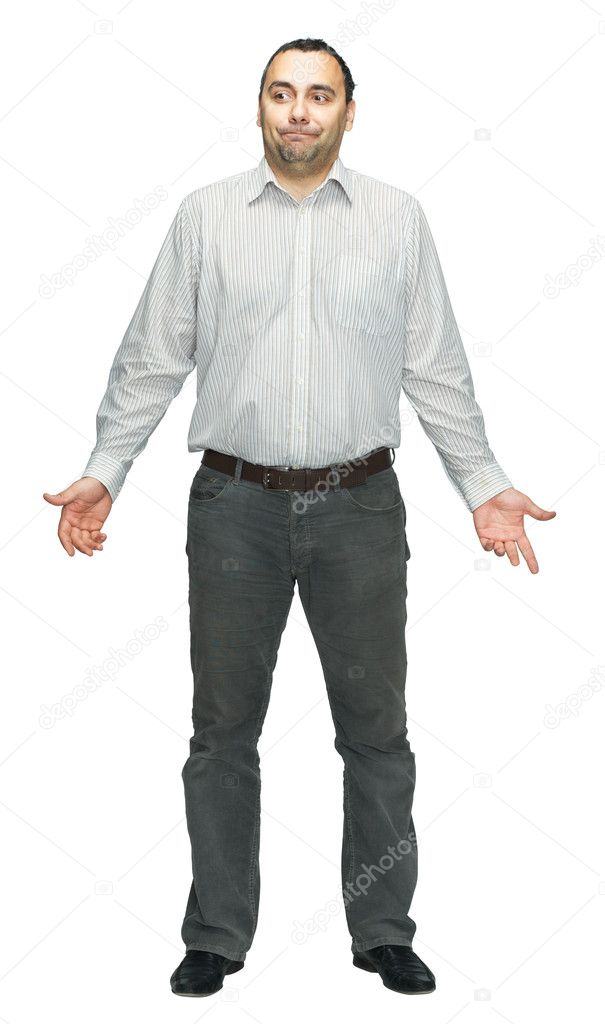 Full length image of a young man standing isolated against white — Stock Photo #7087598