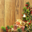 Christmas fir tree and christmas decoration — Stock Photo