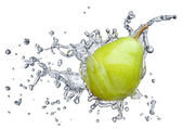Pear in spray of water. — Stock Photo