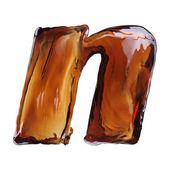 Letra de salpicaduras de cola — Foto de Stock