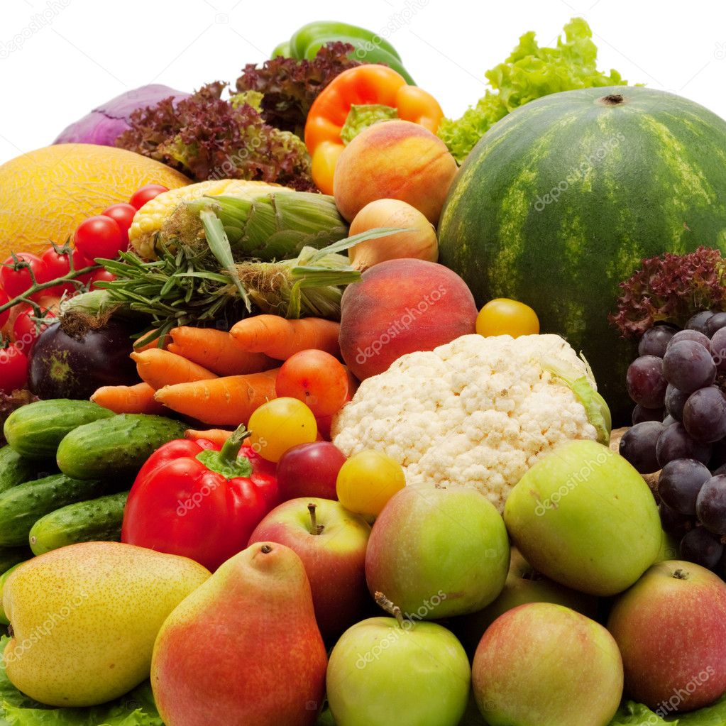 Fresh Vegetables, Fruits and other foodstuffs. Isolated. — Stock Photo #7543369
