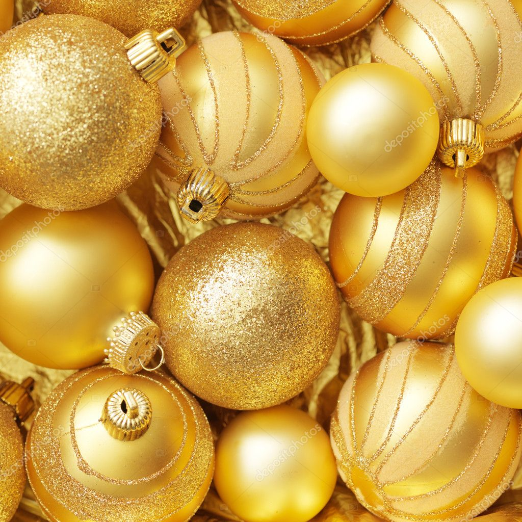 Christmas balls gold background.  Stock Photo #7543590