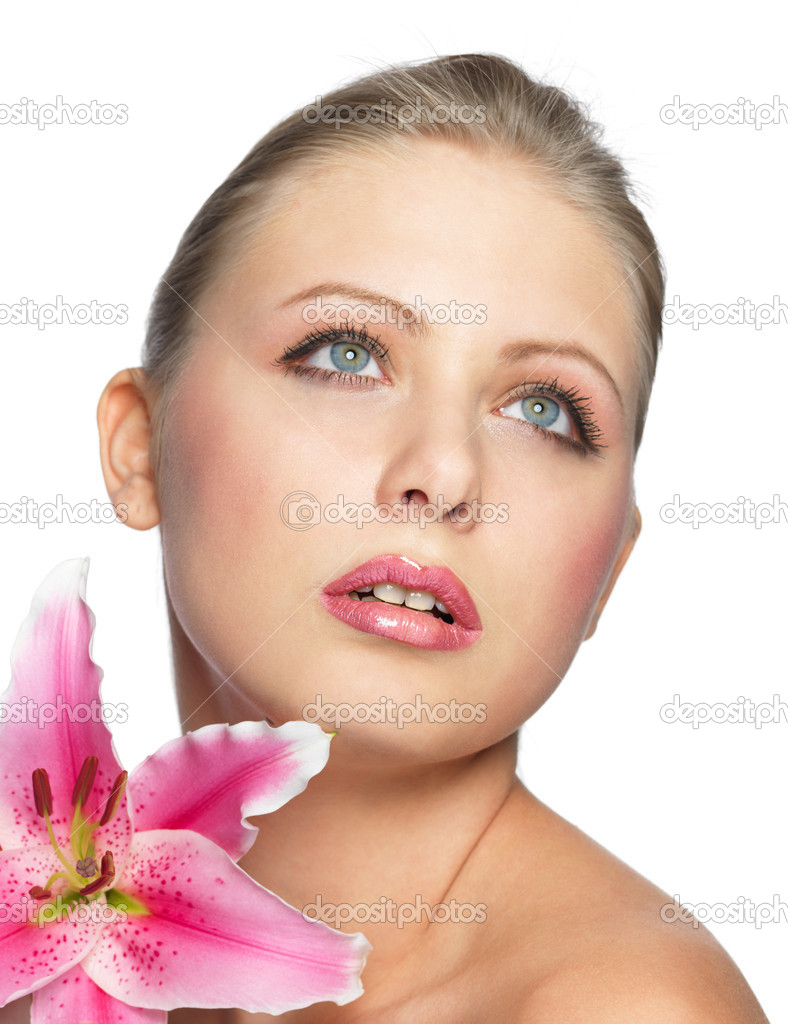 Beautiful young pretty woman with flower. isolated on white  Stock Photo #7543705