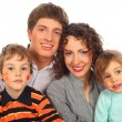 Royalty-Free Stock Photo: Happy family of four with paintings on childish faces