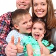 Portrait of parents and two children show gesture ok - Stock Photo