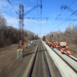 View on railway from moving train — Stock Photo