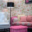 Pink pouf in living room - Stock Photo