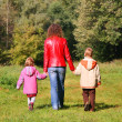 Mother with children on walk in wood, rear view — Stock Photo #7425068