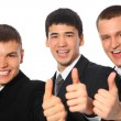Three young businessmen show gesture ok — Stock Photo