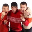 Three aggressive young hooligans — Stock Photo