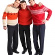 Stock Photo: Three friends stand having embraced