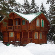Wooden house in winter wood - Stock Photo