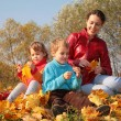 Mother with children sit on fallen maple leaves — Stock Photo