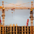 Two cranes on building building — Stock Photo