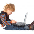 Boy with laptop at profile — Stock Photo