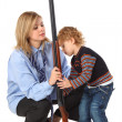 Mother and son with gun — Stock Photo #7425928