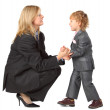 Young businesswoman and son — Stock Photo