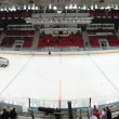 Panorama of hockey stadium with machine for resurfacing ice - Stock Photo