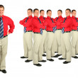 Businessman in red shirt - Stock Photo